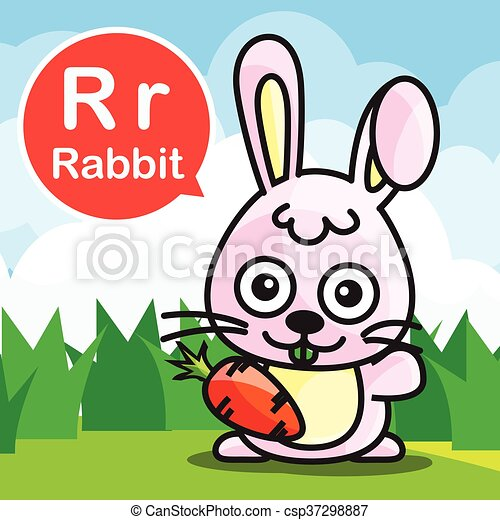 R Rabbit color cartoon and alphabet for children to learning vector illustration eps10 - csp37298887