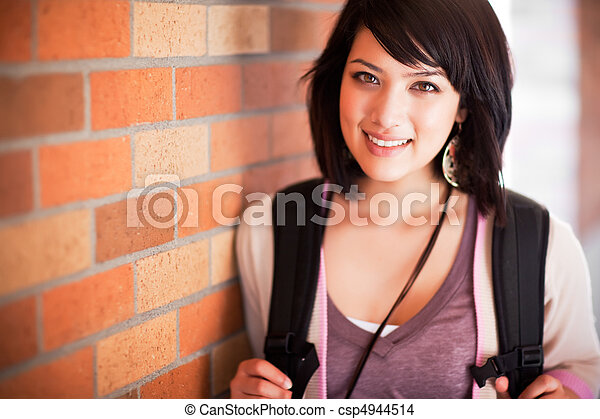 raça misturada, estudante universitário - csp4944514