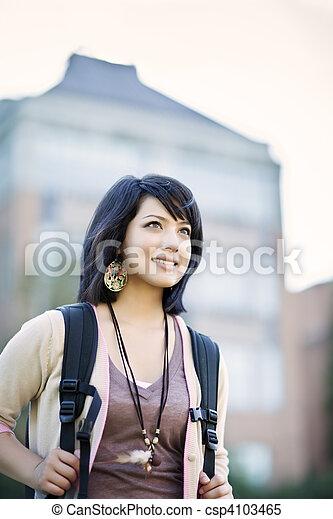 raça misturada, estudante universitário - csp4103465