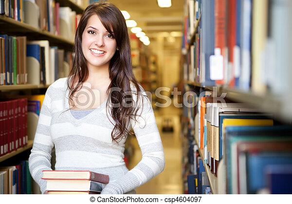 raça misturada, ollege, estudante - csp4604097