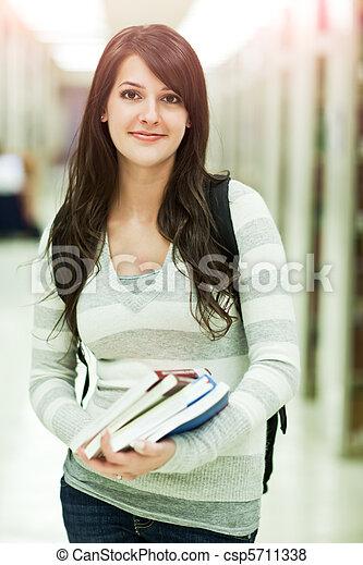 raça misturada, ollege, estudante - csp5711338