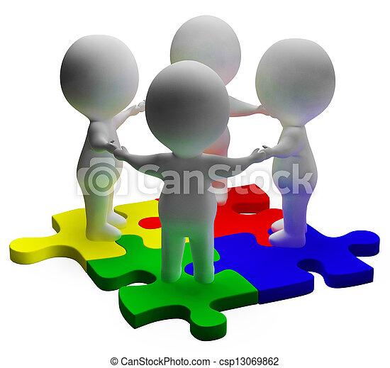 raadsel, opgeloste, eenheid, teamwork, karakters, optredens, 3d - csp13069862
