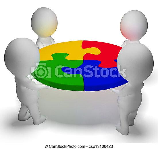 raadsel, opgeloste, teamwork, karakters, team, het tonen, 3d - csp13108423