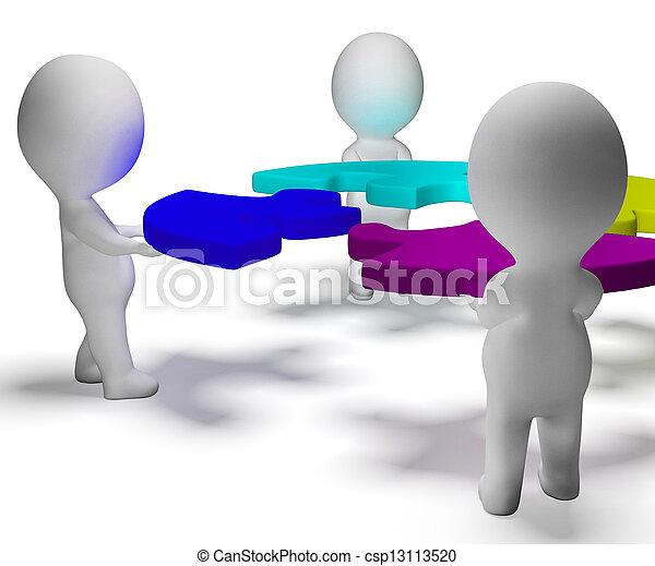 raadsel, opgeloste, teamwork, karakters, team, het tonen, 3d - csp13113520