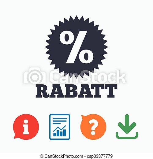 Rabatt Discounts In German Sign Icon Star Rabatt Discounts In