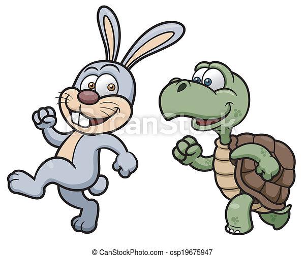 Rabbit and turtle - csp19675947