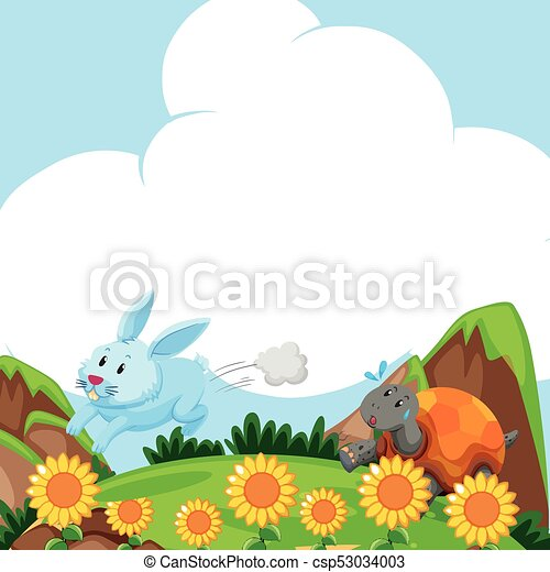 Rabbit and turtle running in the field - csp53034003