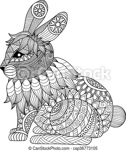 Rabbit coloring page - csp36773105