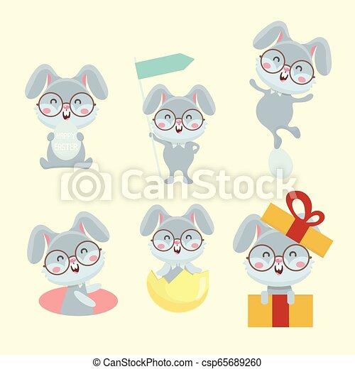 Un juego de lindos conejos de dibujos animados. - csp65689260