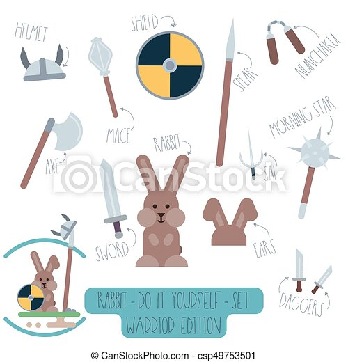 Rabbit do it yourself template with weapons vector do it yourself rabbit do it yourself template with weapons csp49753501 solutioingenieria Images