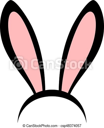 rabbit ears head accessories vector icon pink and black clipart rh canstockphoto com bunny ears clipart black and white easter bunny ears clipart