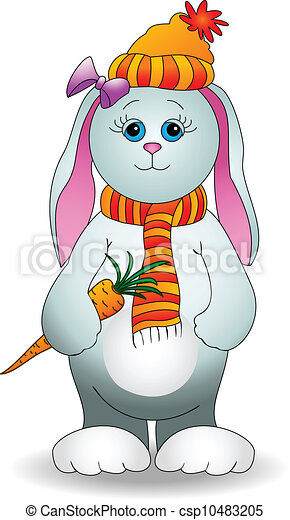 Rabbit girl with a carrot - csp10483205