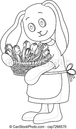 Rabbit girl with flowers, contours - csp7266570