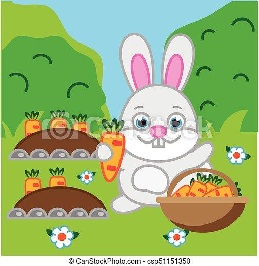 Rabbit Holding Carrot Hare Bunny In The Garden Vector Clipart