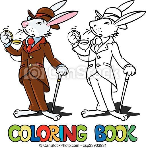 Rabbit in the costume of a gentleman Coloring book - csp33903931