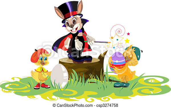 Rabbit magician and chickens dyed eggs for Easter - csp3274758