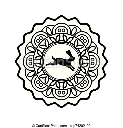 rabbit mooncake icon, flat design - csp74202122
