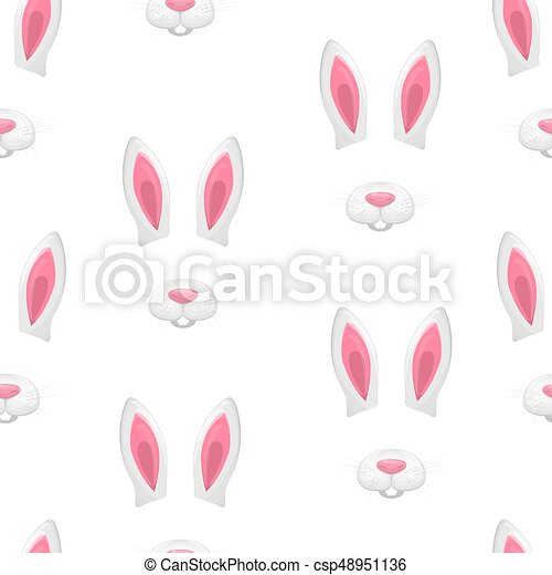 Rabbit Pink Ears And White Mouth Vector Illustration Seamless Wallpaper