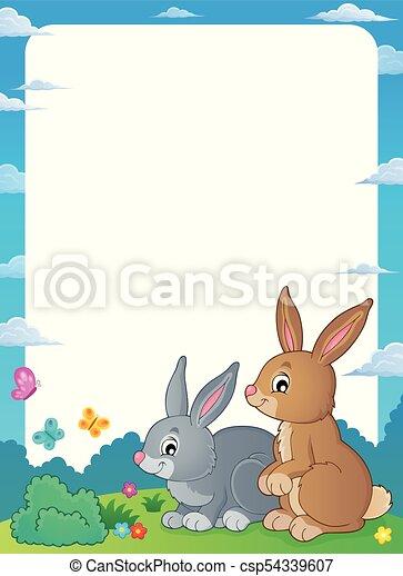 Rabbit topic frame 1 - eps10 vector illustration.