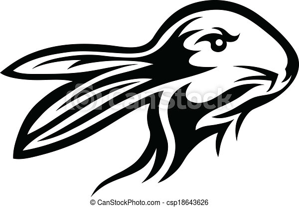 Line Art Vector Design : Rabbit tribal face art vector design illustration search