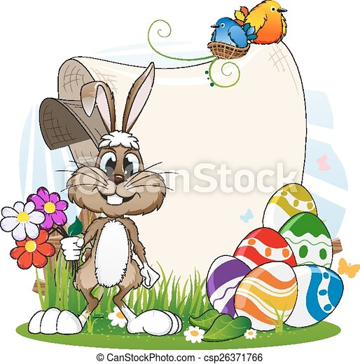 Rabbit with flowers and Easter eggs - csp26371766