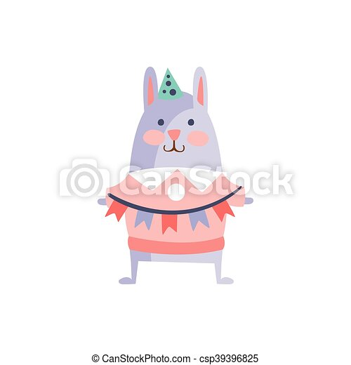 Rabbit With Party Attributes Girly Stylized Funky Sticker - csp39396825