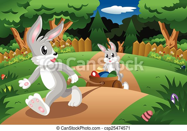 Rabbits pulling an Easter egg cart - csp25474571