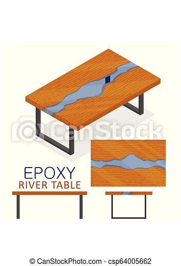 Rable Made Of Wood And Transparent Epoxy Resin Isometric Epoxy River Table Furniture Loft Design Style Isolated On White Background Vector