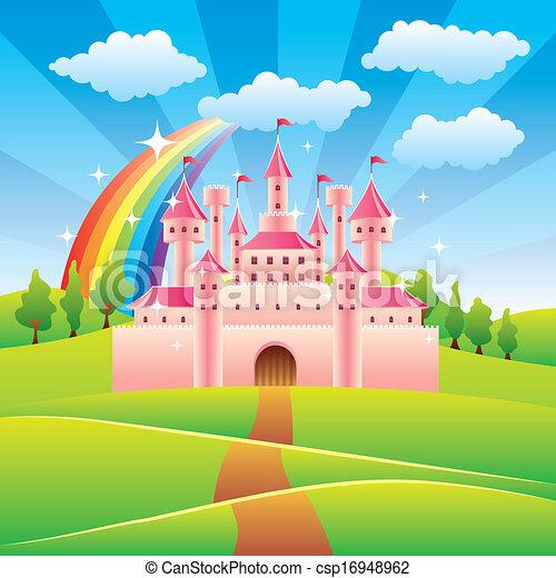racconto, fata, vettore, castello, illustrazione - csp16948962