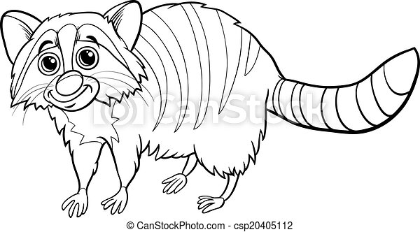 Raccoon Animal Cartoon Coloring Book