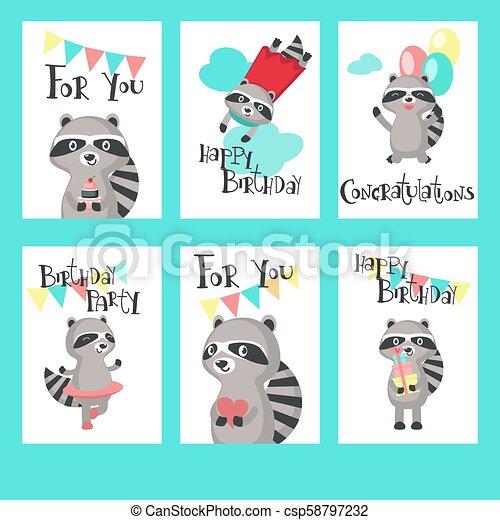 Raccoon Birthday Cards Vector Template Set