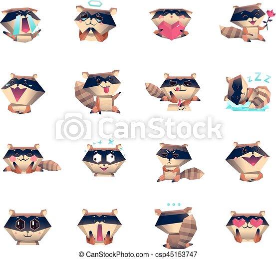 Raccoon Cartoon Character Icons Big Set Raccoon Animation Cartoon