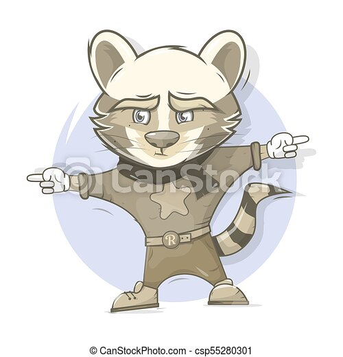 Raccoon character. Cartoon style. - csp55280301