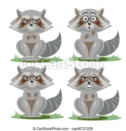 Raccoon collection with different emotions - csp46721229