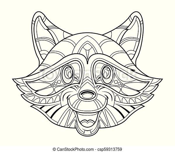 Raccoon head coloring page - csp59313759