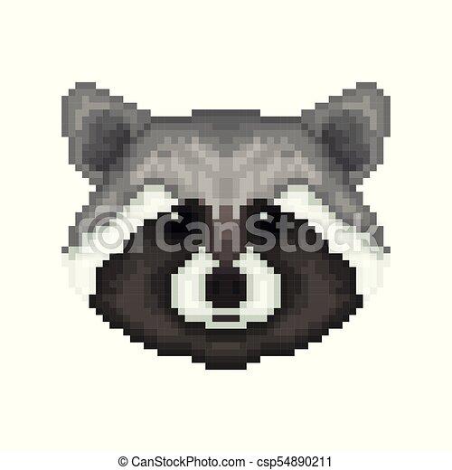 Raccoon Head In Pixel Art Style