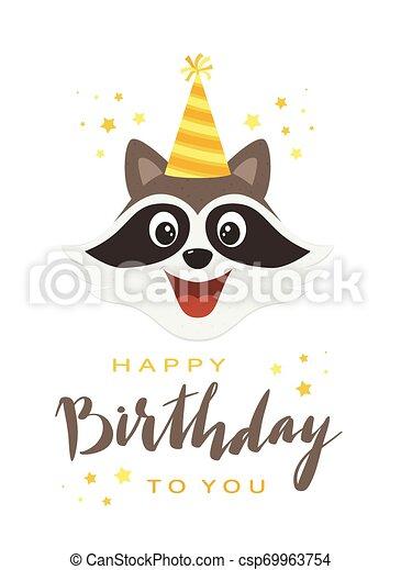 Raccoon Head with Lettering Happy Birthday - csp69963754