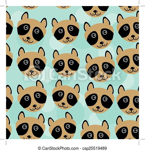 Raccoon Seamless pattern with funny cute animal face on a blue background - csp25519489