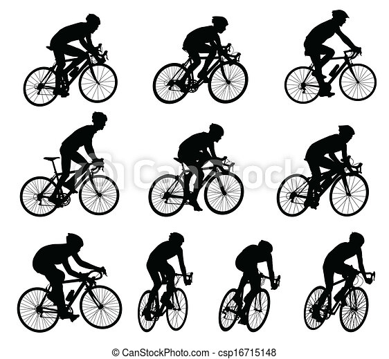 race bicyclists silhouettes - csp16715148