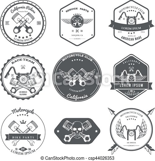 Race Bikers Garage Repair Service Emblems and Motorcycling Clubs Tournament Labels Collection isolated. Vector - csp44026353