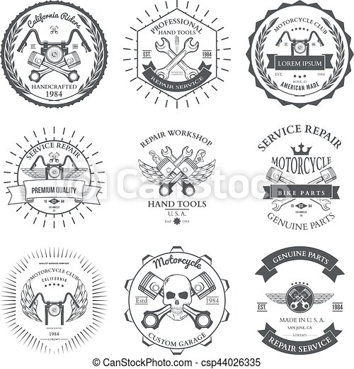 Race Bikers Garage Repair Service Emblems and Motorcycling Clubs Tournament Labels Collection isolated. Vector - csp44026335