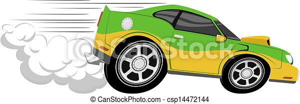 Eps Vector Of Race Car Cartoon Isolated On White Background