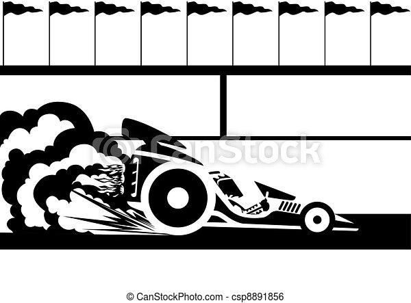 Race car. A racing car...
