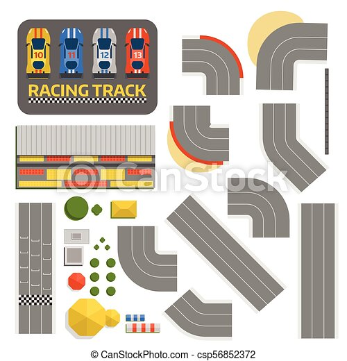 Race car sport track curve road vector. Top view of car sport competition constructor symbols. Circuit transportation tire car speedway line. Automobile highway flare formula finish - csp56852372