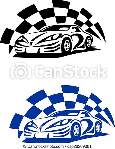 Race Car With Racing Checkered Flag