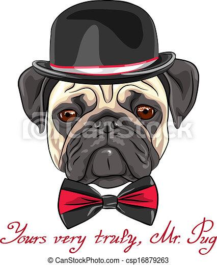 race, vecteur, croquis, chien, carlin, hipster - csp16879263