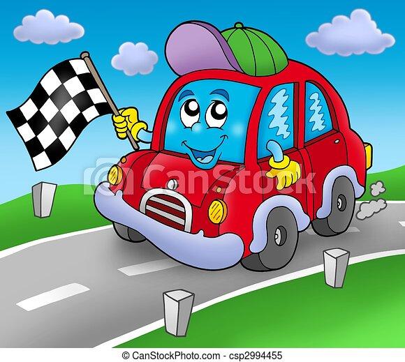 Race voiture d marreur route illustration couleur - Dessin de route ...