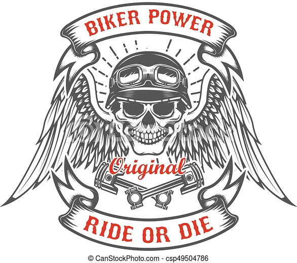 Racer skull with wings and two crossed pistons. Biker power. Rid - csp49504786