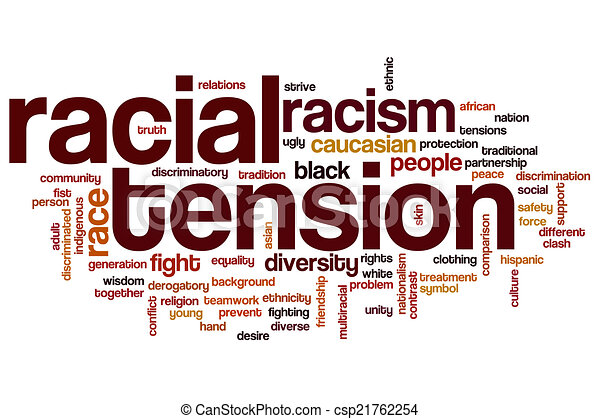 Racial tension word cloud - csp21762254