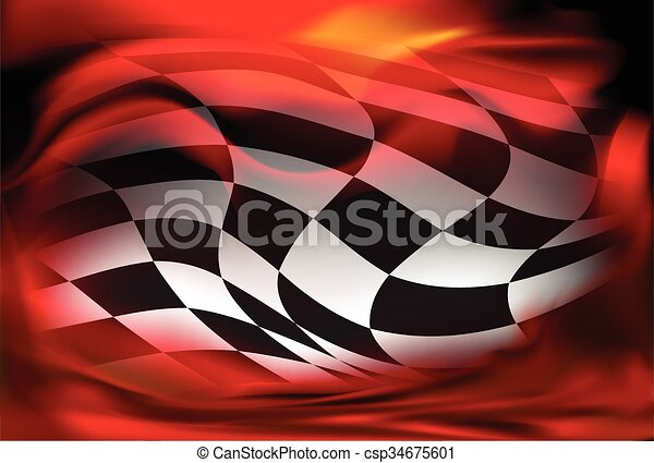racing background checkered flag wawing - csp34675601